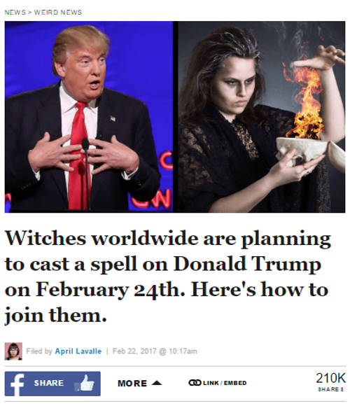 Witches plan to curse President Trump